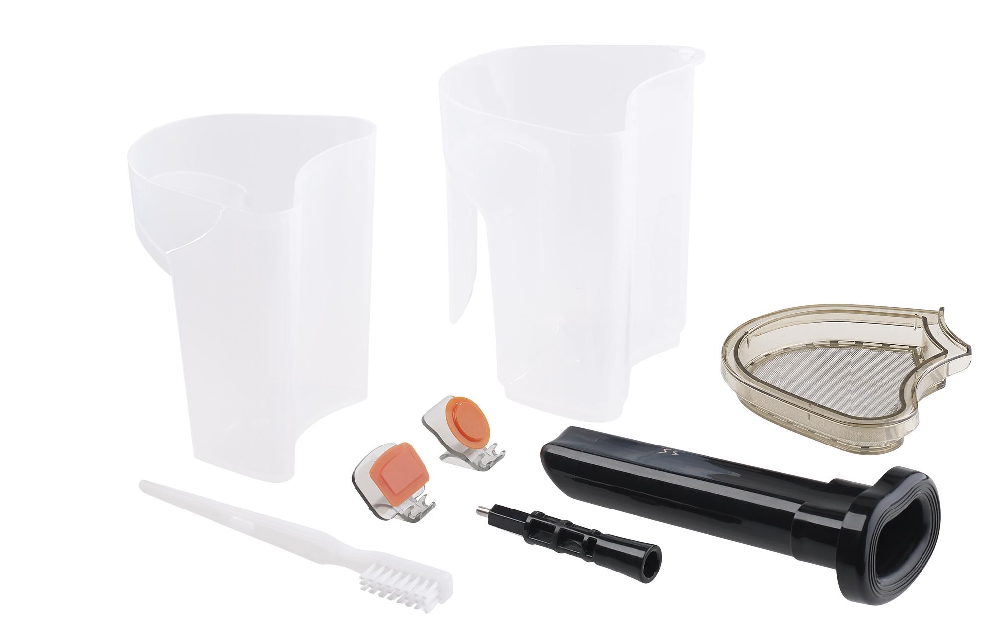 Rosenstein & Sohne 3in1-Slow-Juicer & Entsafter mit Gemuse-Reibe & Eis-Aufsatz, 200 Watt