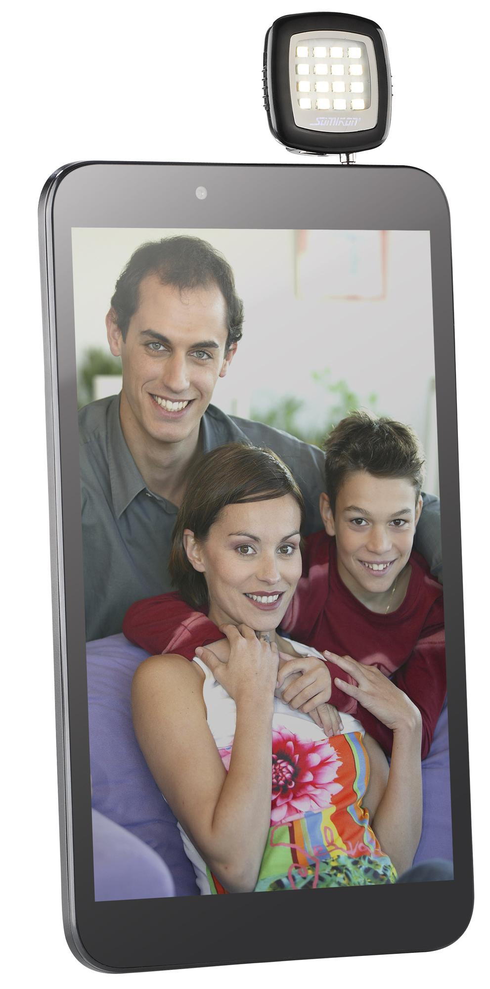 app gesteuerte led videoleuchte f r smartphones co mit 16 power leds. Black Bedroom Furniture Sets. Home Design Ideas