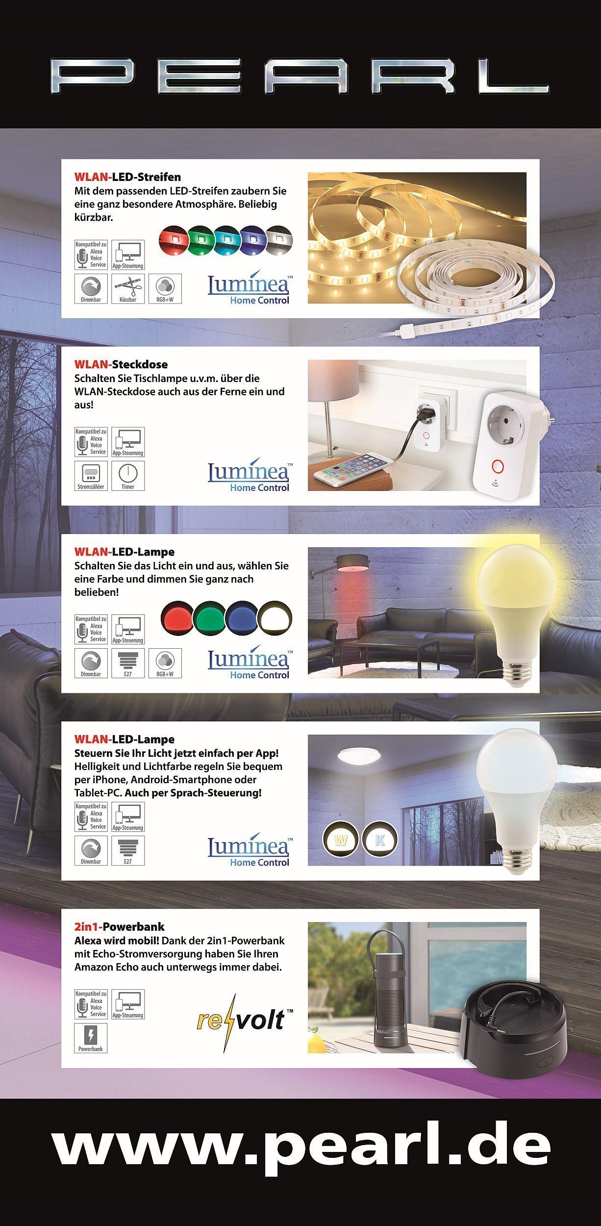 ZX-2832_Luminea_WLAN-LED-Lampe_Steuerung_per_Alexa_Voice_Service_E27_RGBW Spannende Lampen Per App Steuern Dekorationen