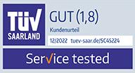 """Freiwilliges Prüfzeichen """"Service tested"""", TÜV-Saarland"""