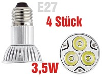 High-Power LED-Strahler 3x1W LED, Kaltweiß, E27 (230V) 4er-Pack (Bild 1)