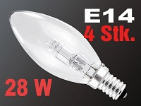 "Halogen-Energiesparlampe ""Green Saver"" Candle E14, 230V, 28W 4er-Set"
