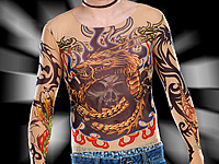 "infactory Tattoo-Shirt ""Tribal & Dragon"", bunt (Bild 1)"