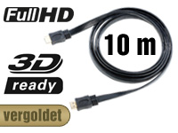 auvisio HDMI 1.4 Flachkabel High-Speed mit Ethernet, vergoldet 10 m