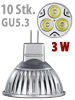 Luminea LED-Spot 3x 1W-LED, warmweiß, GU5.3, 210 lm, 10er-Set