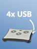 Notebook Cooler-Pad mit 4 Port USB 2.0 Hub
